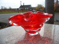 Mid Century Modern Free Form Stretch Clear Orange Art Glass Chalet Bowl Murano