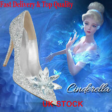 Fast Ship Cinderella Wedding Party Diamond Pumps Crystal High Heels Shoes 2.5-7