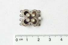 4-reihige Silberschließe, 16  handgefasste Similis, alter Silberschmuck, Vintage