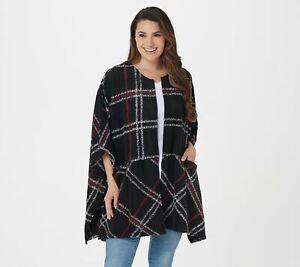 Cuddl Duds Fleecewear Stretch Open Wrap (BlackStichPlaid, One Size) A381797