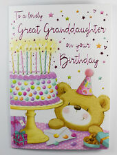 Lovely Great Granddaughter On Your Birthday Greeting Card & Envelope Seal Lux.