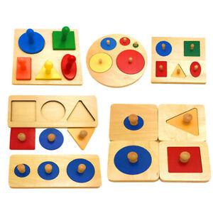 WOOD KNOB GEOMETRIC SHAPE PUZZLE PEG BOARD MATCH BABY EDUCATIONAL TOY