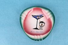"""VINTAGE NORCREST """"THREE-TWO-ONE"""" MARTINI GLASS CERAMIC ASHTRAY MADE IN JAPAN"""