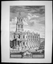 1724 Kip Large Antique  Folio Print of St Marys Church, The Strand, London