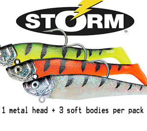 Storm WildEye GIANT Jigging Shad Fishing, 3 SOFT BODIES + 1 HEAD,  Four Sizes