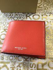 f109b2e84a02 Michael Kors Mens Harrison Leather ID Billfold Wallet Bright Orange NEW RARE