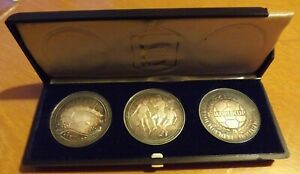 3 x British Sterling Silver Medallions 1974 UNC Grade Football World Cup Cased.