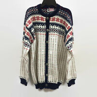 Vossknit Made in Norway Fair Isle Navy Red Wool Cardigan Sweater EU 52 USA 44