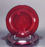 """4 Vintage Ruby Red Glass Arcoroc France 9 1/2"""" Luncheon Dinner Plates"""