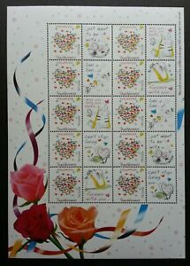 [SJ] Singapore Thinking Of You 2006 Cat Rose Love Flower Heart (sheetlet) MNH