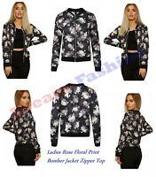 Womens Rose Floral Print Bomber Jacket Ladies Italian Zipper Long Sleeve Top New