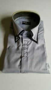 Men's 7 Camicie WHITE AND GREY STRIPED SLIM FIT SHIRT BRAND NEW WITH TAGS!!