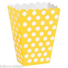 8 Giallo Bianco Polka Dot Spot Stile Party Di Carta Bottino trattare favore sacchetti scatole