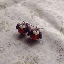 robbin earrings Christmas Xmas Drops Festive Party Bird Winter Cute fimo