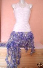 Da Donna Color Panna Bianco & Blu Mix scintillanti paillettes party Dress Con Increspatura Taglia 8-10