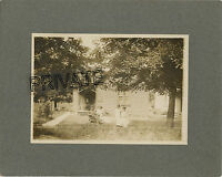 Antique Matted Photo - GOODIN Family Sitting Outside, Wife & 3 Little Girls