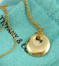 Tiffany & Co Vintage Rare Signed Elsa Peretti 18k 750 Yellow Gold Round Necklace