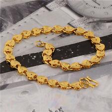5mm wide Women's Fashion jewelry Heart shape Bracelet 18K Yellow Gold filled
