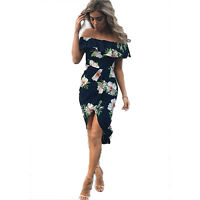 Women's Ladies Bardot Off the Shoulder Frill Maxi Floral Bodycon Midi Wrap Dress