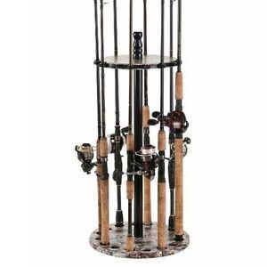 Round Fishing Rod Storage Rack Floor Pole Holder 15 Rods Camo Stand Organizer