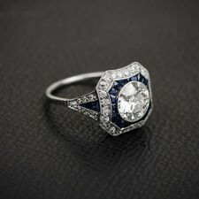 2 ct old european cut art deco style french cut princess CZ engagement ring 10 k