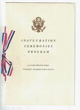 Inauguration Ceremonies Program January 21st 1957 Dwight D Eisenhower & Nixon