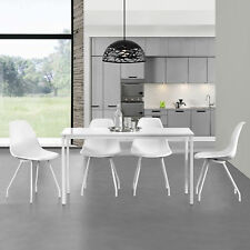 [en.casa] Set de comedor mesa + 4 sillas 120x60cm blanco set para cocina salón