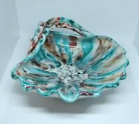 Vintage Glazed Shell Shaped Trinket Dish- Hand Painted- Made in Italy- Chipped