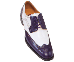 Mens Handmade Shoes Oxford Brogue Derby Two-Tone Purple & White Leather Formal