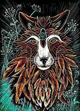 Fox Art Original Fantasy Beast 5x7 flowers mandala zentangle Scratchboard