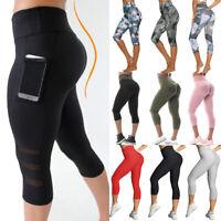 Women's Yoga Leggings High Waist Capri Pants Pockets PUSH UP Fitness Stretch AM