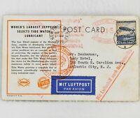 Germany Onboard Hindenburg Zeppelin 1st Flight - Tide Water Oil Promo Post Card