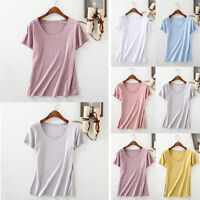 Summer Fashion Women Cotton Vest Top Short Sleeve Blouse Casual Tank Top T-Shirt