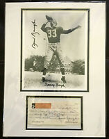 SAMMY BAUGH AUTOGRAPH SIGNED PERSONAL CHECK WASHINGTON REDSKINS 8X10 PHOTO wCOA