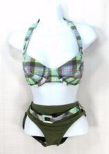 Tommy Bahama Relax Ladies Swimsuit Plaid Green Bikini 34C Top Small Bottom