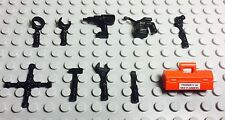 Lego Black Mechanic Tools,Toolbox Set Lug,Wrench,Screw driver,Drill,Hammer 10pc.
