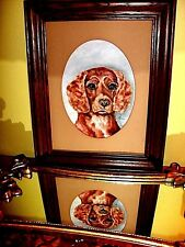 Dog Animal Portrait Brown CUTE! Oil on Canvas Painting Vintage Robin Partridge