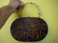 (EL20-5) brown GENUINE Alligator Leather Handbag SKIN Hide oval PURSE BOX