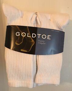 Gold Toe® Men's White Cushion Cotton Crew Socks, 6 Pair, sock size 10/13