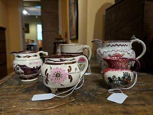 19th Century English Pink Lusterware Creamers