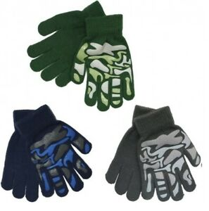 Boys Kids Camo Design Thermal Stretchy Magic Gripper Gloves Camouflage Grip