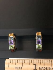 14K YG Rainbow Gem Earrings w Amethyst Citrine Blue Topaz Peridot Garnet; Omega