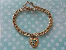 """Vintage 12K Gold Filled GF Gold Turquoise HEART CHARM BRACELET 7"""" Shamrock"""