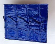 100% Vera Pelle Di Coccodrillo Coda in Pelle Bifold Portafoglio Uomo Blue