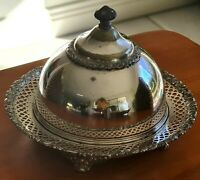 """Antique Covered Butter Dish - Estate C1852 to 1898 """"Meriden Brittania Co."""""""
