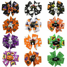 "3"" Halloween Funny Painted Hair Bows Clip Grosgrain Ribbon Hairpins Gifts Costum"