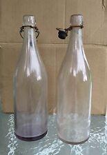Two Vintage Wire Bail Purple Amethyst Glass Bottles Gem Stopper Co. 28 3 6 Lot 4