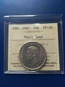 1947ML Canadian Silver Half Dollar (50c) ICCS Graded VF-30, Free Shipping!