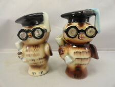 Vintage Geo Z LEFTON Owl 1956 S&P Shakers Crystal Eyes Diplomas Black Specs