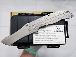 custom made flipper norseman stonewash m390 blade titanium tactical pocket knife